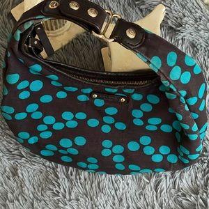 Kate Spade Stevie Brown with Teal dots handbag